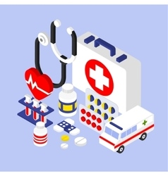 Flat 3d isometric infographic for medical vector