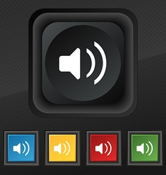 Speaker volume sound icon symbol set of five vector