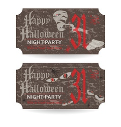 Vintage ticket to halloween party vector