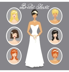 Bride images setdifferent wedding hairstyle vector