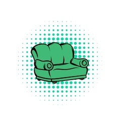 Green sofa comics icon vector