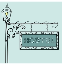 Hostel text on vintage street sign vector