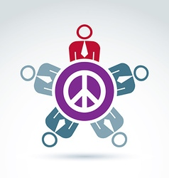 A group of people sitting around a peace sign h vector