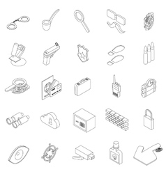 Spy icons set isometric 3d style vector