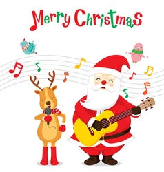 Reindeer And Santa Singing And Playing Guitar vector image
