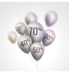Silver baloons discount sale concept for shop vector