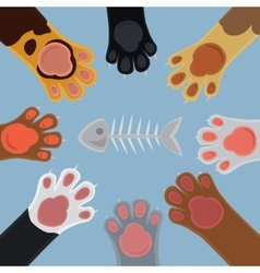 Cats paw set cartoon vector