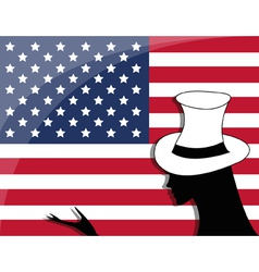 American flag and a girl vector image
