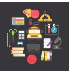 Back to school icons set flat design vector image vector image