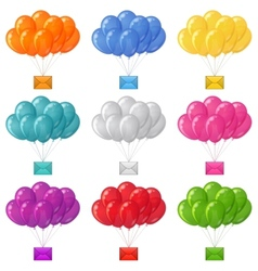 Balloons bunches with letters set vector image vector image