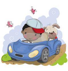 Boy goes on the car vector