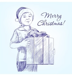 boy in Santa hat holding Christmas present hand vector image vector image