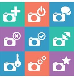 camera web info icon set vector image