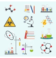 Chemical laboratory science and technology flat vector image vector image