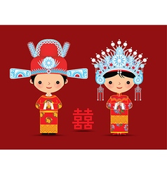Chinese bride and groom cartoon wedding vector image vector image