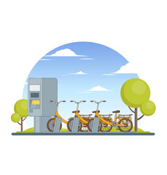 Colorful bike parking concept vector