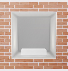 Empty niche realistic brick wall clean vector