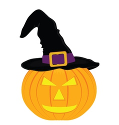 Evil pumpkin witch hat for halloween vector