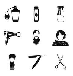 Facial vegetation icons set simple style vector