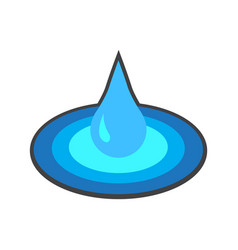 Flat color water drop icon vector