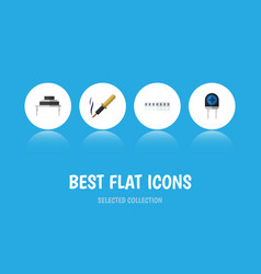 Flat icon technology set of memory transducer vector