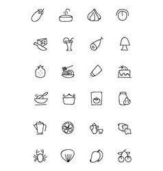 Food hand drawn outline icons 10 vector