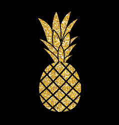 gold glitter pineapple summer concept background vector image vector image