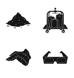 Heap of garbage luggage trolley and other web vector