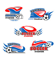 icons of soccer or football arena stadium vector image