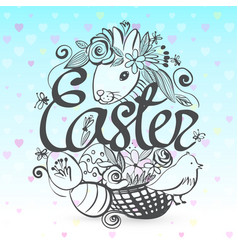 Ink hand drawn all the symbols of easter vector