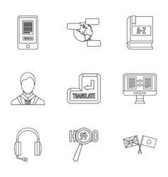Language learning icons set outline style vector