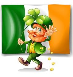 Leprechaun and irish flag vector