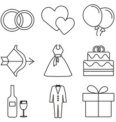 Love and wedding icon set vector