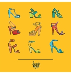 Lovely set with stylish fashion shoes hand drawn vector image vector image