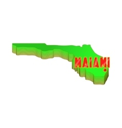 Map of Florida with Miami icon cartoon style vector image