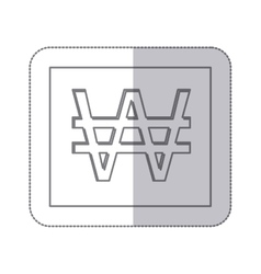 Middle shadow monochrome square with currency vector