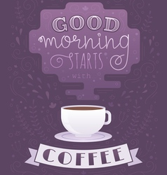 Morning coffee cup lettering poster vector