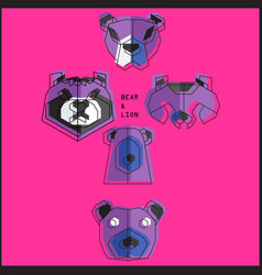 origami bear set vector image vector image