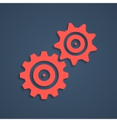 red gear icon with shadow vector image