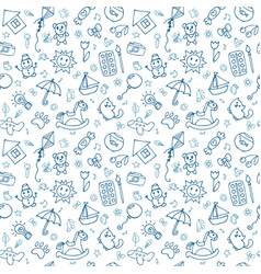 Seamless pattern for cute little boys and girls vector