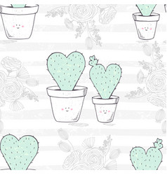 Seamless pattern with hand drawn heart shaped vector
