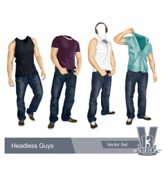 Set of headless guys isolated vector