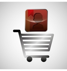 shiny shopping cart contacts online commerce vector image