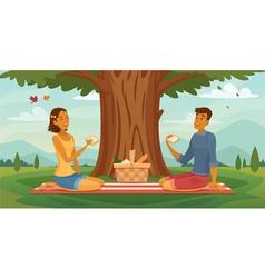 Summer picnic couple retro cartoon poster vector