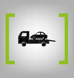 Tow car evacuation sign black scribble vector