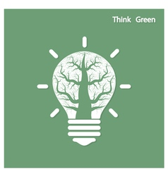 Tree of green idea shoot grow in a light bulb vector