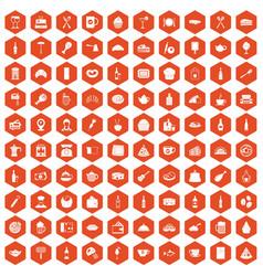 100 restaurant icons hexagon orange vector