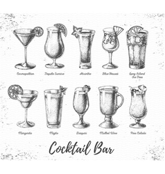 Vintage cocktail bar menu vector image