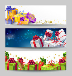 Gift Boxes Banner Set vector image