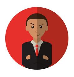 Man business crossed arms suit necktie shadow vector